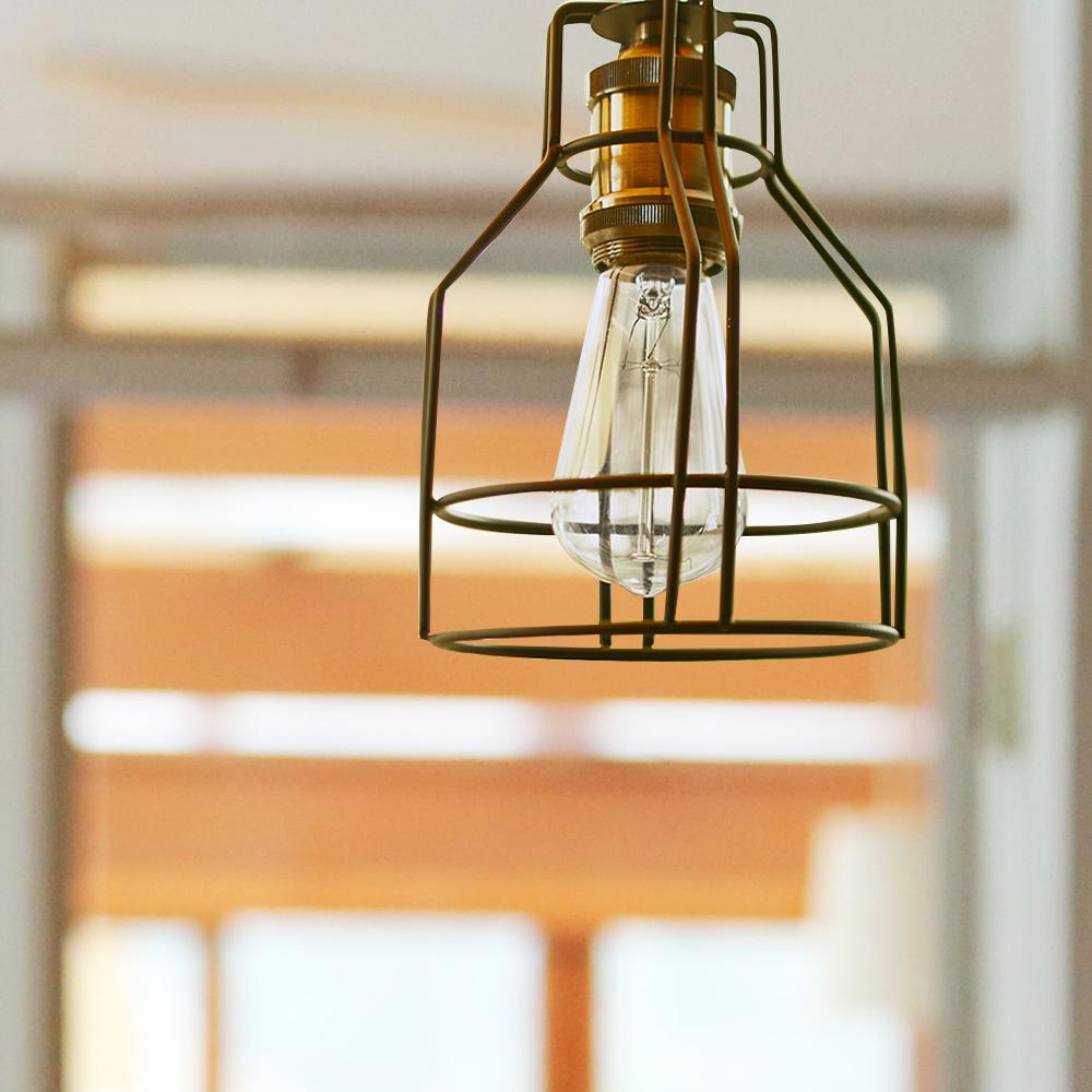 代金引換不可 ワイヤーランプシェード 1灯|ライト 照明 天井照明 リビング ダイニング ペンダントランプ アンティーク おしゃれ
