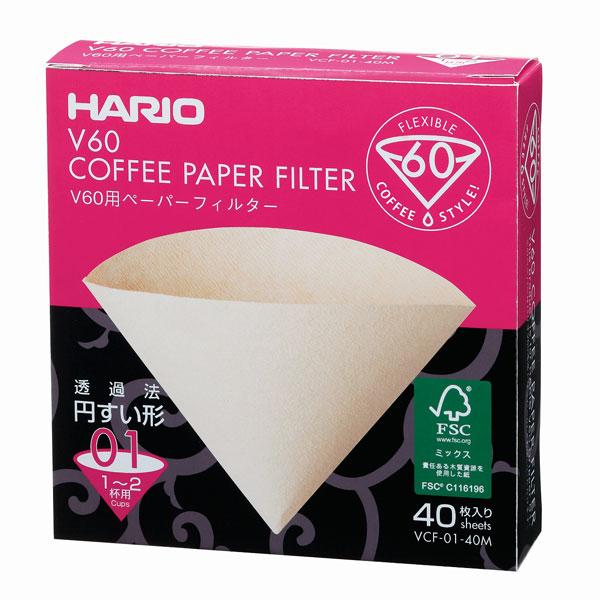 ハリオ HARIO V60 V60用コーヒーペーパーフィルター 01M VCF-01-40W 1~2杯用 みさらし V60