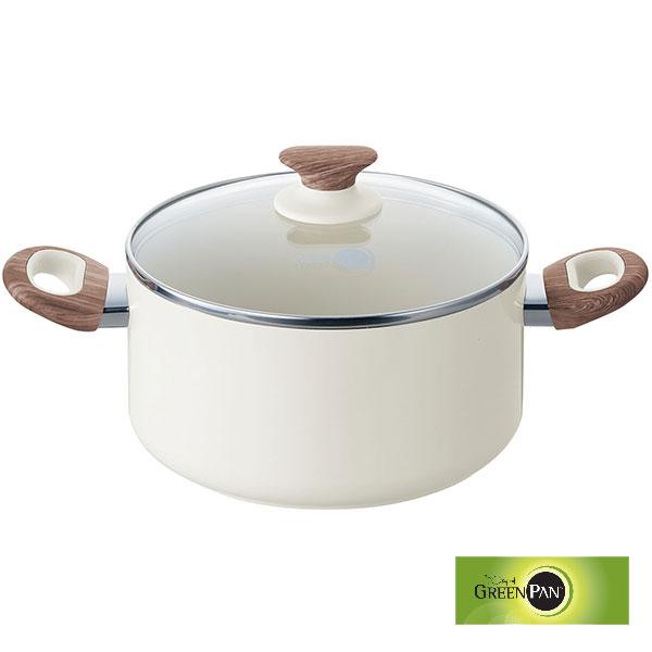 グリーンパン GREENPAN ウッドビー キャセロール 両手鍋(アルミ)蓋付き 20cm WOOD-BE