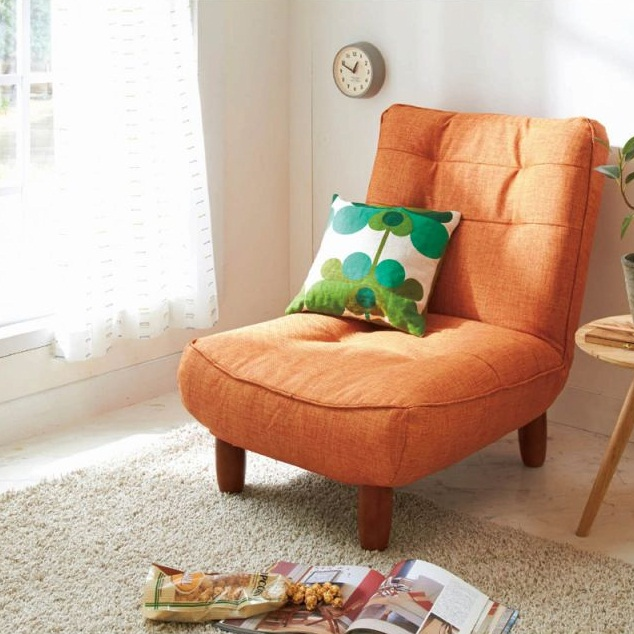 【送料無料】 北欧調ハイバックソファーGN A(1P) ★ オレンジ ブラウン グリーン ネイビー グレー ターコイズブルー 北欧 ナチュラル 可愛い かわいい 座椅子 座いす 座イス ひとり用 ひとり暮【直送】