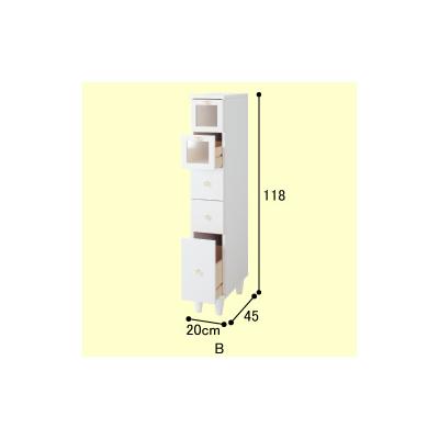 デザイン 横 ランドリーラック おしゃれ 【大型】 ランドリー収納 すきま収納棚E−50 (hocola) 引出し 洗面所収納 引き出し スリム すき間収納 サニタリーチェスト 省スペース (B幅25cm) 洗面台 隙間収納