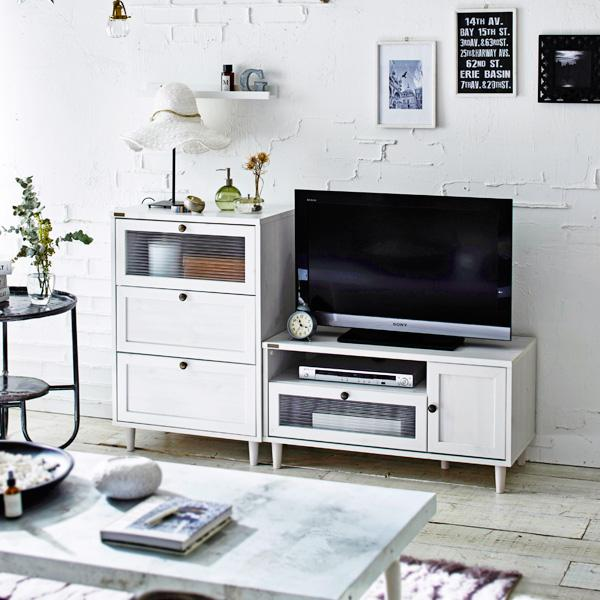 【送料無料】 波ガラスを使用したデザインテレビ台 チェストセット ホワイト 【直送】