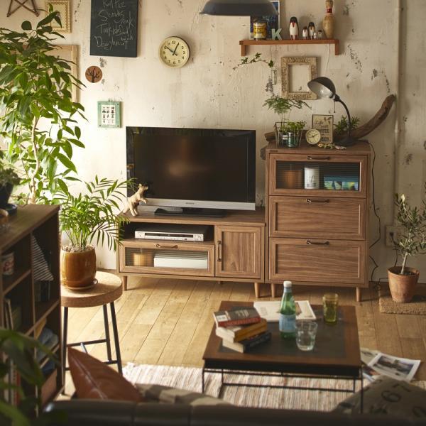 【送料無料】 波ガラスを使用したデザインテレビ台 チェストセット ダークブラウン 【直送】