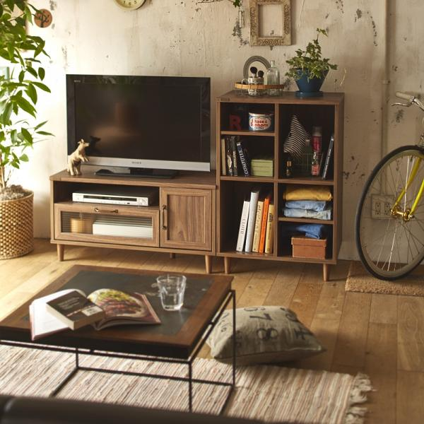 【送料無料】 波ガラスを使用したデザインテレビ台 ディスプレイラックセット ダークブラウン 【直送】