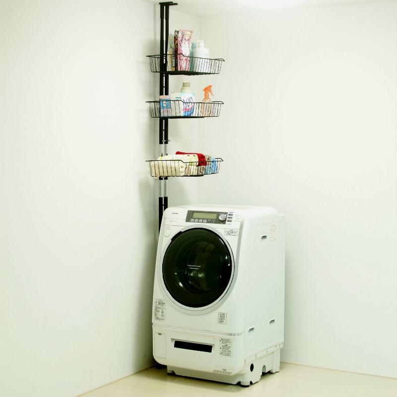【クーポン割引対象外】【送料無料】 省スペース突っ張り洗濯機ラック (バスケット棚3段)【直送】