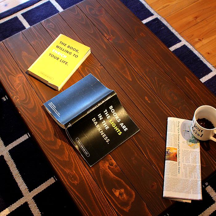【送料無料】 リビングテーブル ヴィンテージ インダストリアル 西海岸 ブラウン 木製 無垢 (幅93cm)【直送】