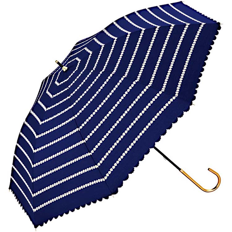 日傘 内祝い 高級な 長傘 手開き セール ワールドパーティー T 81-9539 ハナボーダー 50cm ネイビー Cパラソル