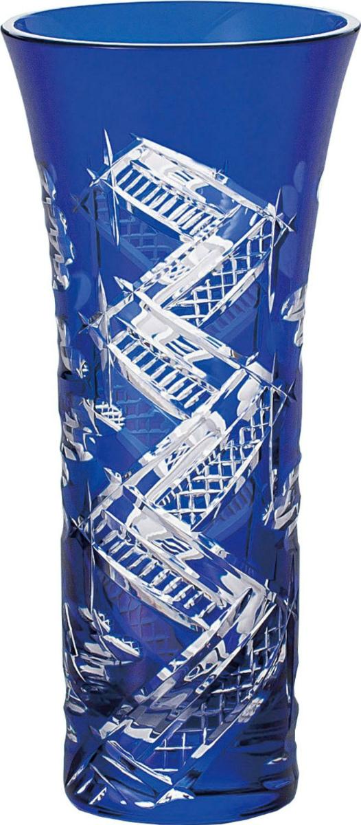 【お取り寄せ可能】【東洋佐々木ガラス】八千代切子 花瓶 八つ橋 花器 (LV68360SULM-C660)
