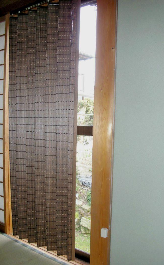 【大湖産業】 カーテン ウッド 木製 ダークブラウン 100×135cm (JA-001S)