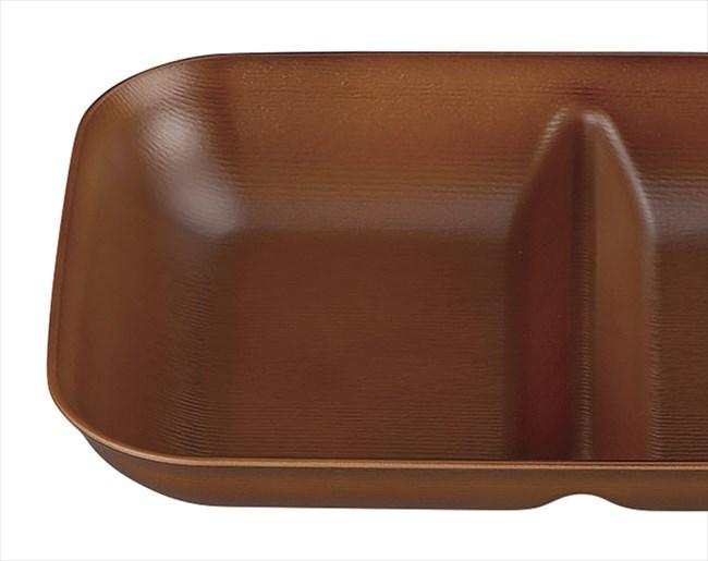 皿 ウッディ 仕切皿 ライトブラウン 17×24.2×3.6cm