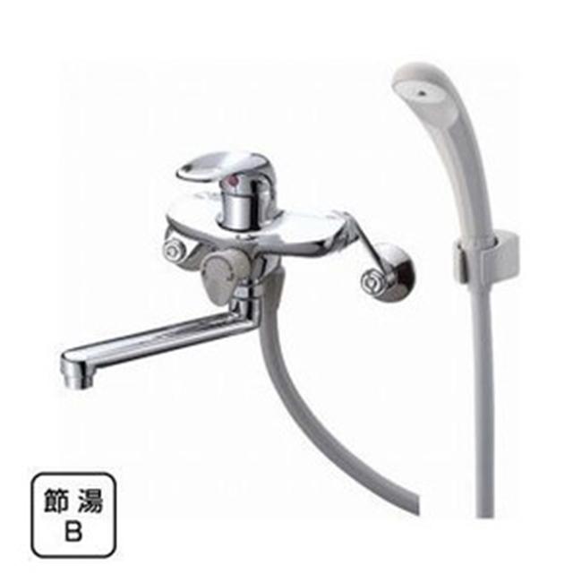 三栄水栓 【バス用混合栓】 シングルシャワー混合栓 ホワイトシャワヘッド・吐水パイプの長さ170mm(SK1710)