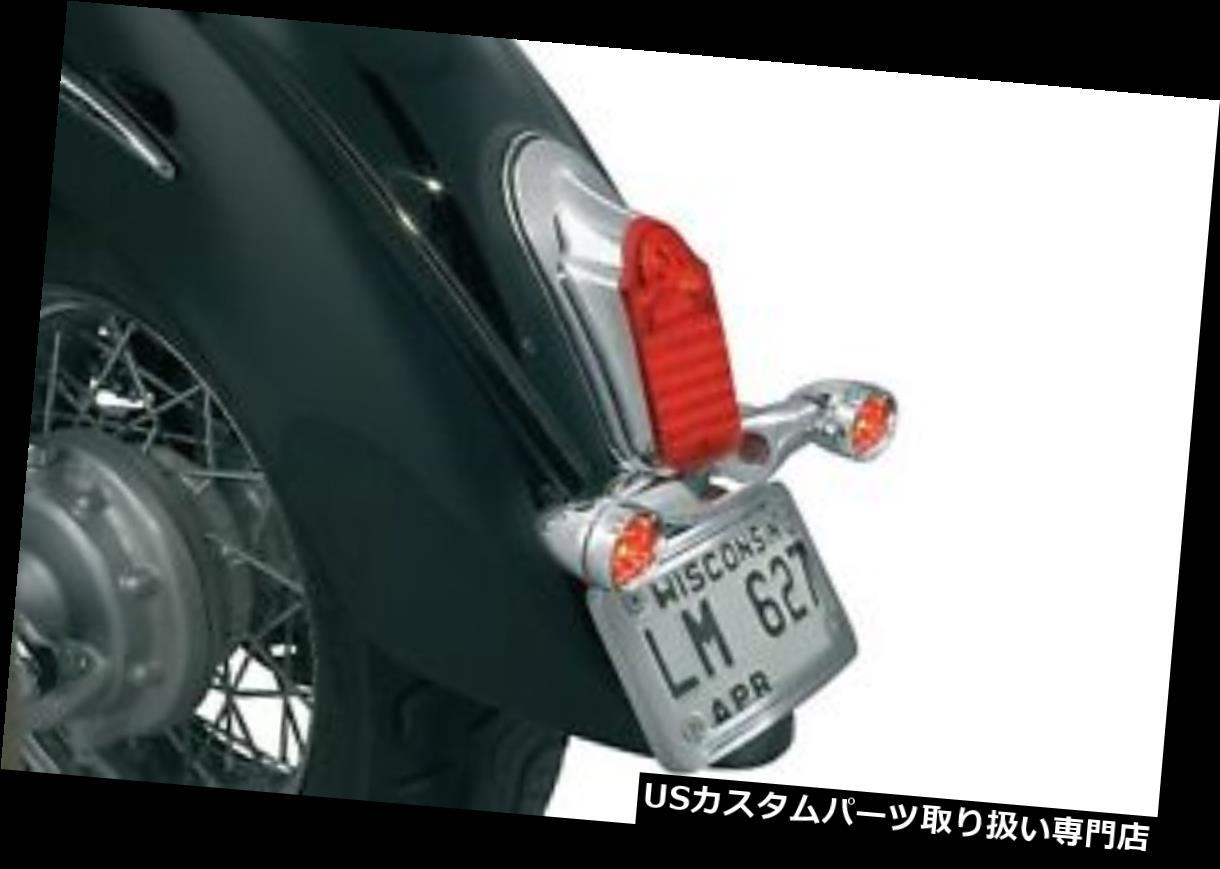 USテールライト KuryakynクロームユニバーサルリアLEDトゥームストーンテールライトターンシグナルマウントキット Kuryakyn Chrome Universal Rear LED Tombstone Taillight Turn Signal