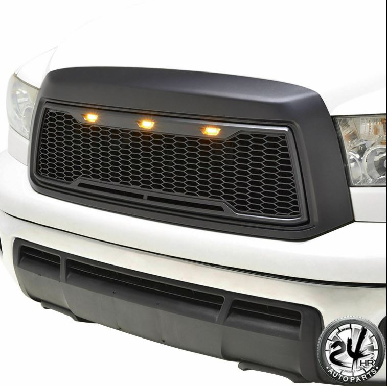 EAG 10-13トヨタタンドラグリルABS交換ブラックW / 3 LEDライト