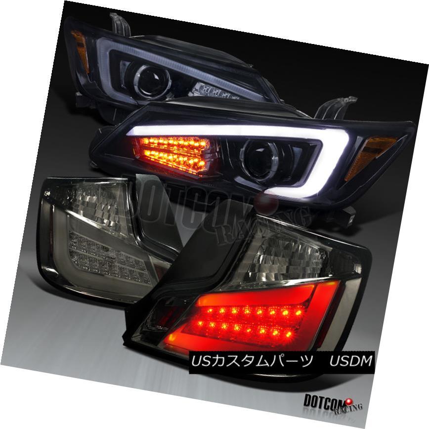 ヘッドライト 11-13 Scion tC Glossy Black LED Signal Projector Headlights+Smoke LED Tail Lamps 11-13 Scion tC光沢ブラックLEDシグナルプロジェクターヘッドライト+スモーキー ke LEDテールランプ