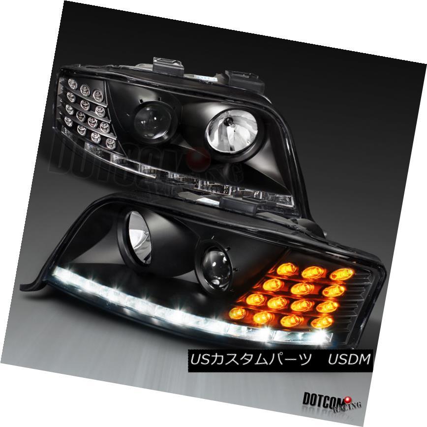 ヘッドライト 2002-2004 A6 Black LED Pro Headlights+Auto-Level Motor+LED Turn Signal 2002-2004 A6ブラックLEDプロヘッドライト+オート oレベルモーター+ LEDターンシグナル