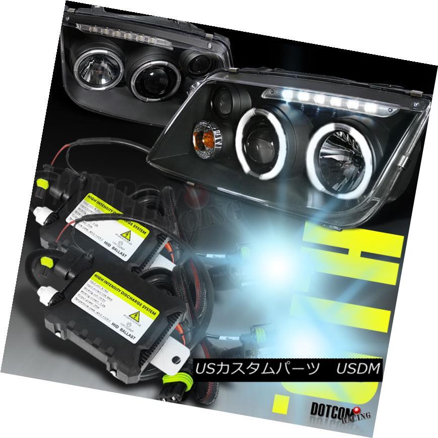 ヘッドライト Black 1999-2004 Fit Jetta/Bora Halo H1 Xenon HID Projector LED Headlights Slim ブラック1999-2004フィットジェッタ/ボラハロH1キセノンHIDプロジェクターLEDヘッドライトスリム