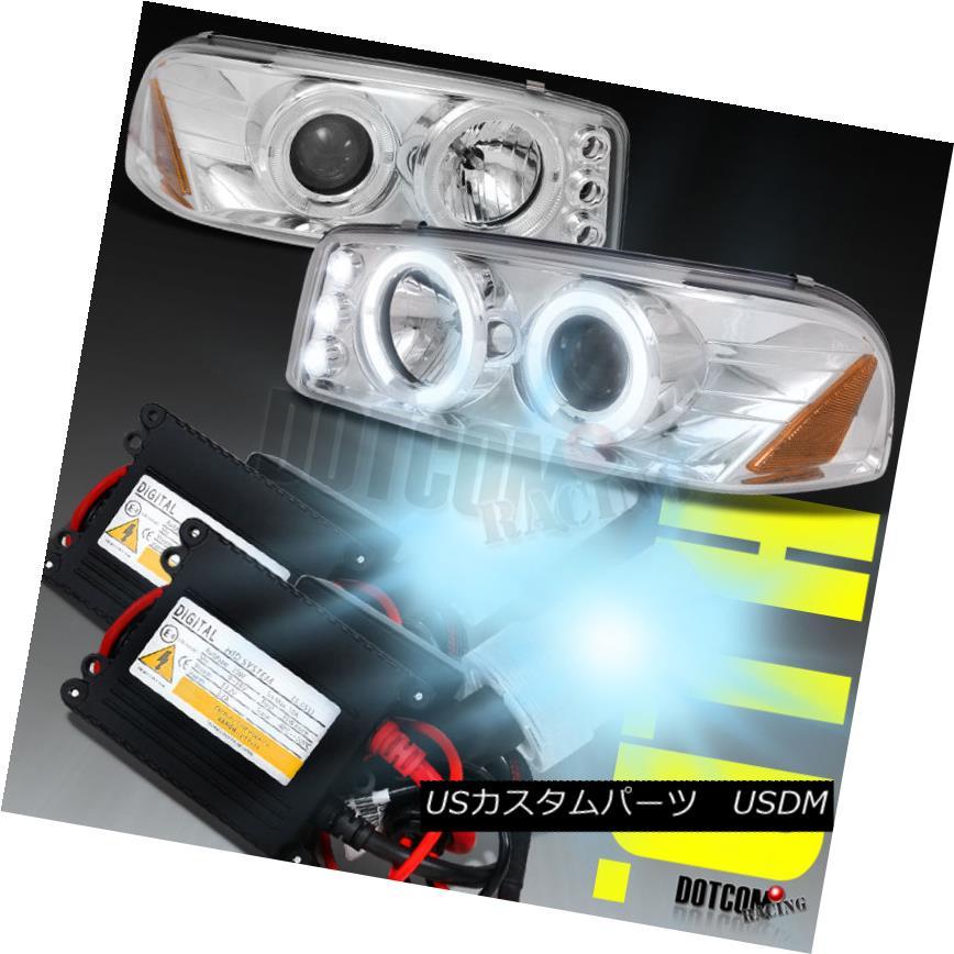 ヘッドライト 01-06 Yukon Denali XL LED Halo Projector Headlights+6000K Hi Xenon Slim HID Kit 01-06ユーコンデナリXL LEDハロープロジェクターヘッドライト+ 600  0KハイキセノンスリムHIDキット