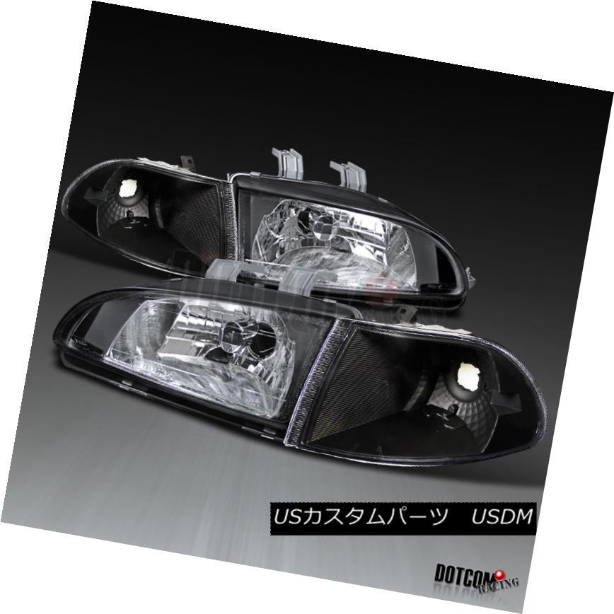 ヘッドライト For 1992-1995 Honda Civic 4Dr LX Headlights+Corner Lamps Black Replacement Pair 1992-1995 Honda Civic 4Dr LXヘッドライト+コルク nerランプブラック交換ペア