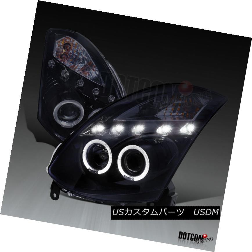ヘッドライト Glossy Piano Black For 2003-2007 G35 2Dr Dual Halo Projector LED Headlights Pair 光沢のあるピアノブラック、2003-2007 G35 2DrデュアルハロープロジェクターLEDヘッドライトペア