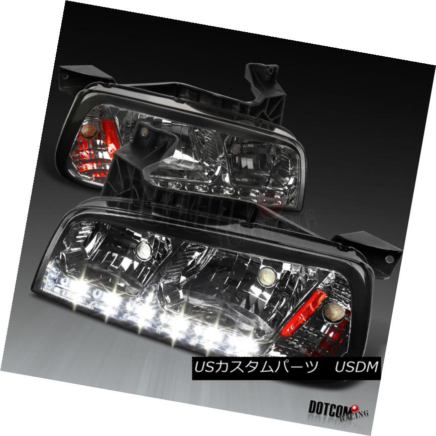ヘッドライト 06-10 Dodge Charger 1PC Smoke Lens SMD LED DRL Headlights Corner Signal Lamps 06-10ダッジチャージャー1PCスモークレンズSMD LED DRLヘッドライトコーナー信号ランプ