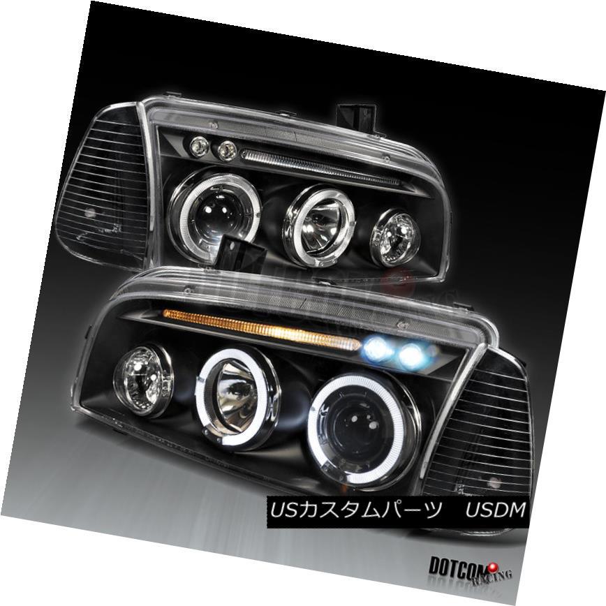 ヘッドライト 2005-2010 Dodge Charger Halo LED Head Lights+Corner Black 2005-2010 Dodge Charger Halo LEDヘッドライト+コーナーブラック