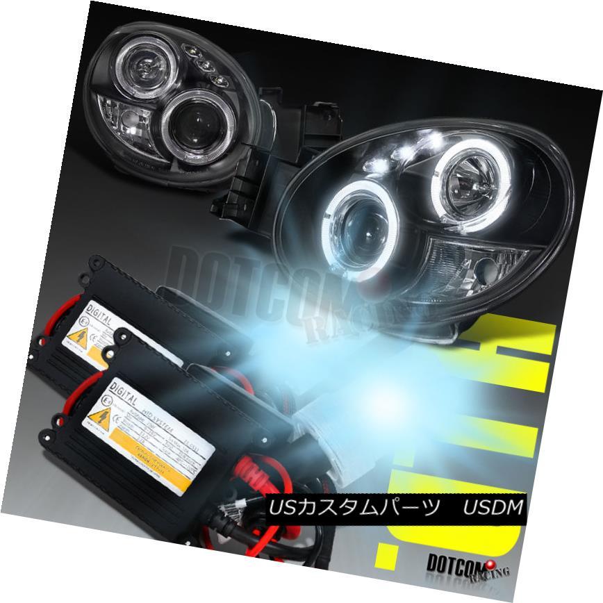 ヘッドライト For 02-03 Subaru Impreza WRX Halo Black Projector Headlights+H1 6000K HID Kit 02-03スバルインプレッサWRXハローブラックプロジェクターヘッドライト+ H1 6000K HIDキット