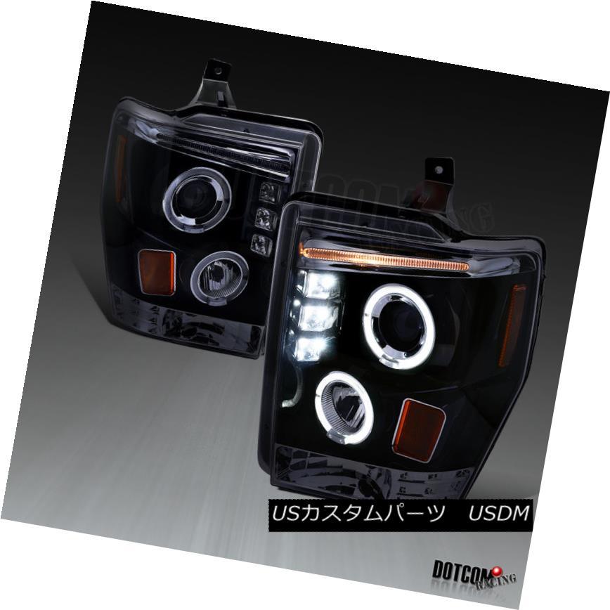 ヘッドライト Glossy Black 2008-2010 F250 F350 F450 Pickup LED Dual Halo Projector Headlights 光沢のある黒2008-2010 F250 F350 F450ピックアップLEDデュアル・ハロー・プロジェクター・ヘッドライト