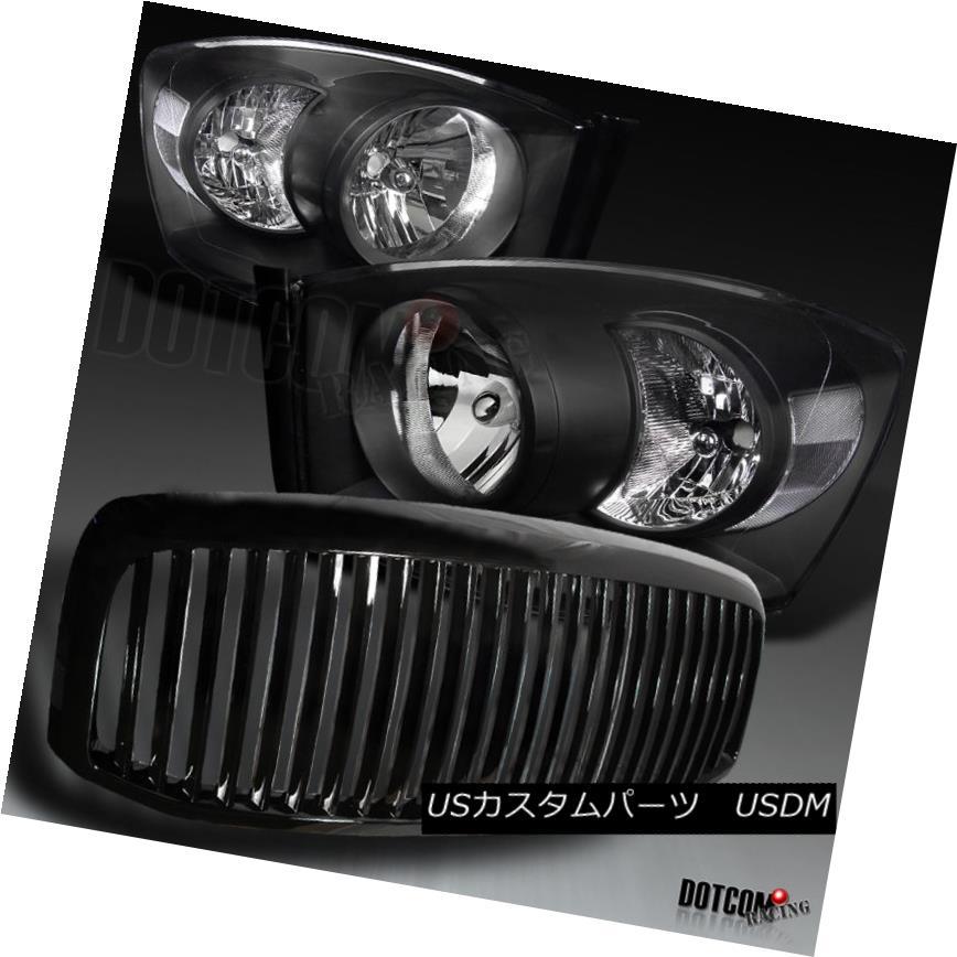 ヘッドライト 2006-2008 Dodge RAM 1500 2500 3500 Black Headlights+Hood Grille 2006-2008 Dodge RAM 1500 2500 3500ブラックヘッドライト+ Hoo  d Grille