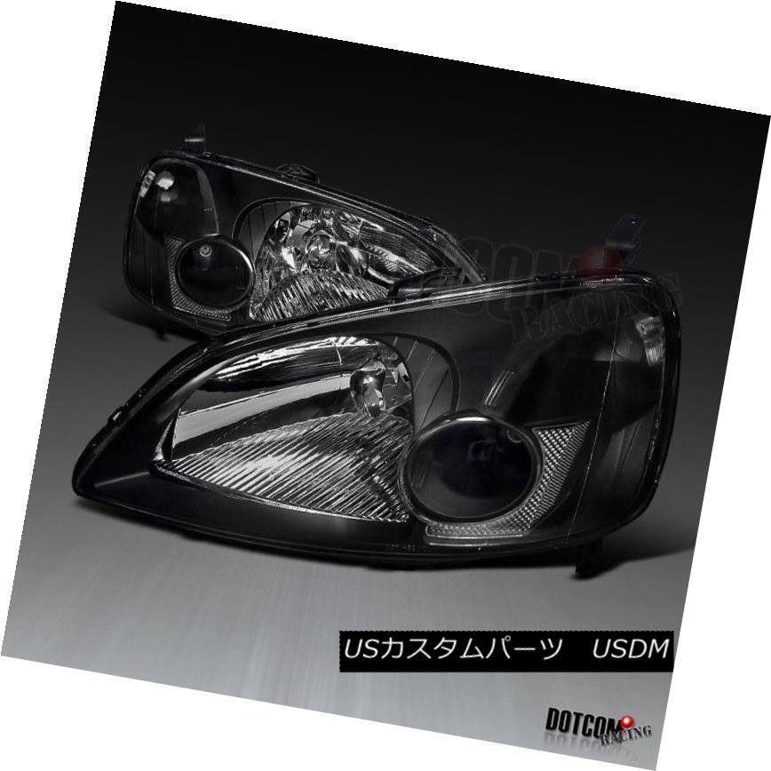 ヘッドライト For 2001-2003 Honda Civic LX EX JDM Black Headlights Head Lamps Replacement Pair 2001 - 2003年ホンダシビックLX EX JDMブラックヘッドライトヘッドランプ交換用ペア