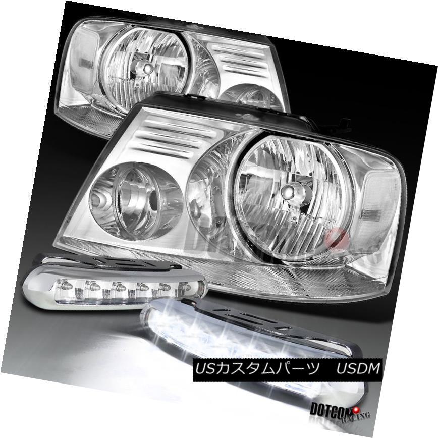 ヘッドライト 2004-2008 Ford F150 4PC Crystal Clear OEM Headlights+LED Bumper Fog Lamps 2004-2008フォードF150 4PCクリスタルクリアOEMヘッドライト+ LEDバンパーフォグランプ