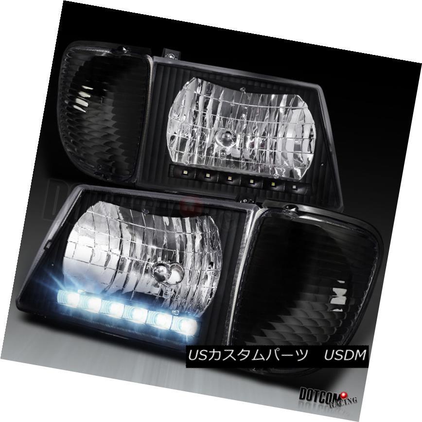 ヘッドライト 92-06 Econoline Van LED Headlights Lamps+Signal Corner Lights Black 92-06 Econoline Van LEDヘッドライトランプ+信号コーナーライト黒