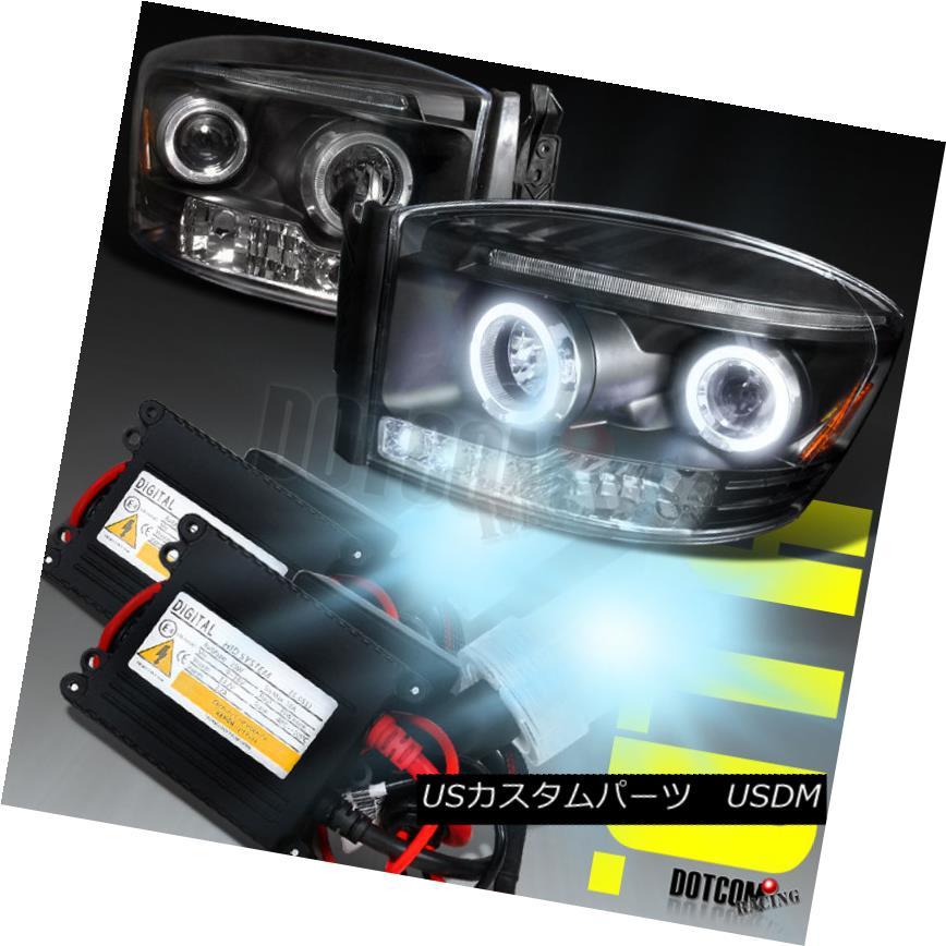 ヘッドライト Slim HID+2006-2008 Dodge RAM Projector Headlights Black スリムHID + 2006-2008ドッジRAMプロジェクターヘッドライトブラック