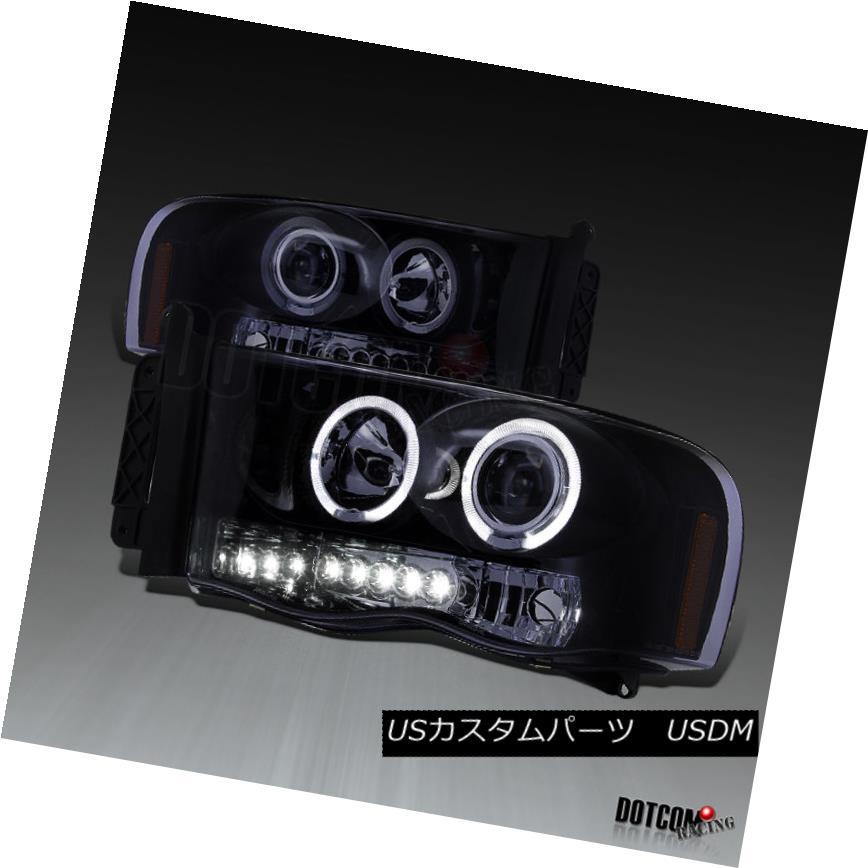 ヘッドライト New Glossy Piano Black 2002-2005 Dodge RAM LED Halo Projector Headlights Pair 新しい光沢のあるピアノブラック2002-2005ダッジRAM LEDハロープロジェクターヘッドライトペア