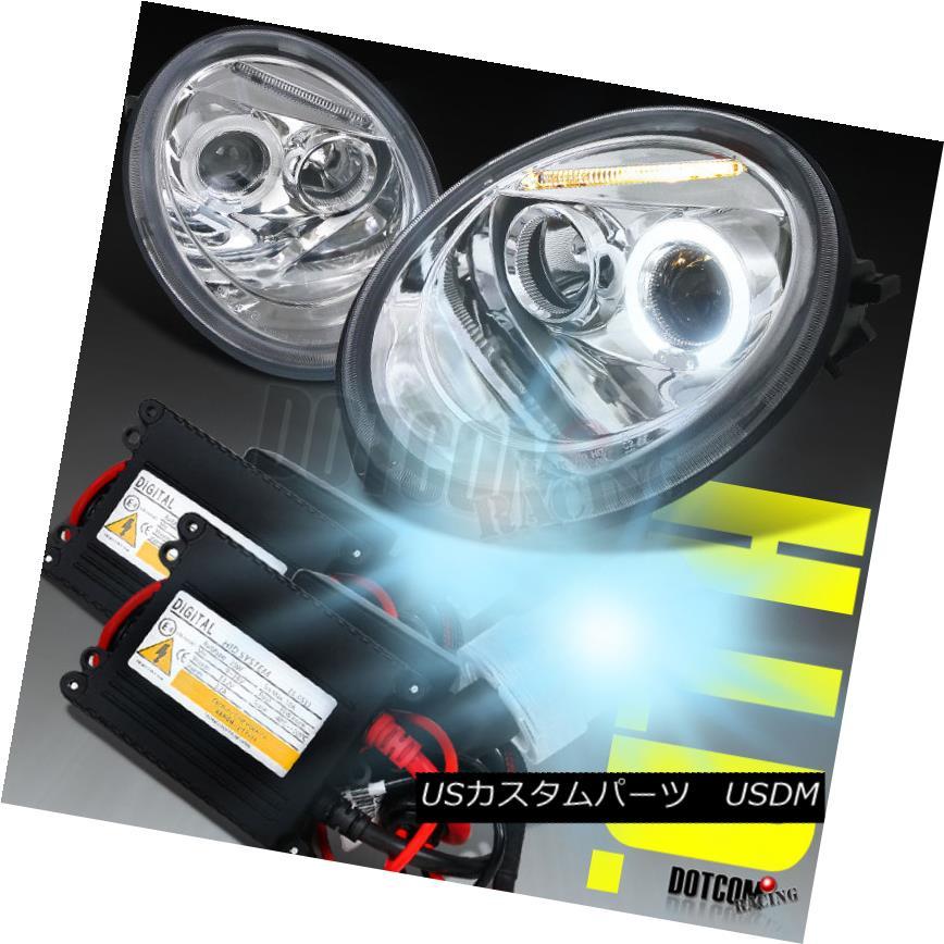 ヘッドライト For 1998-2005 VW Beetle Halo Chrome Projector Headlights Lamps+H1 6000K HID Kit 1998-2005 VWビートルハロークロームプロジェクターヘッドライトランプ+ H1 6000K HIDキット