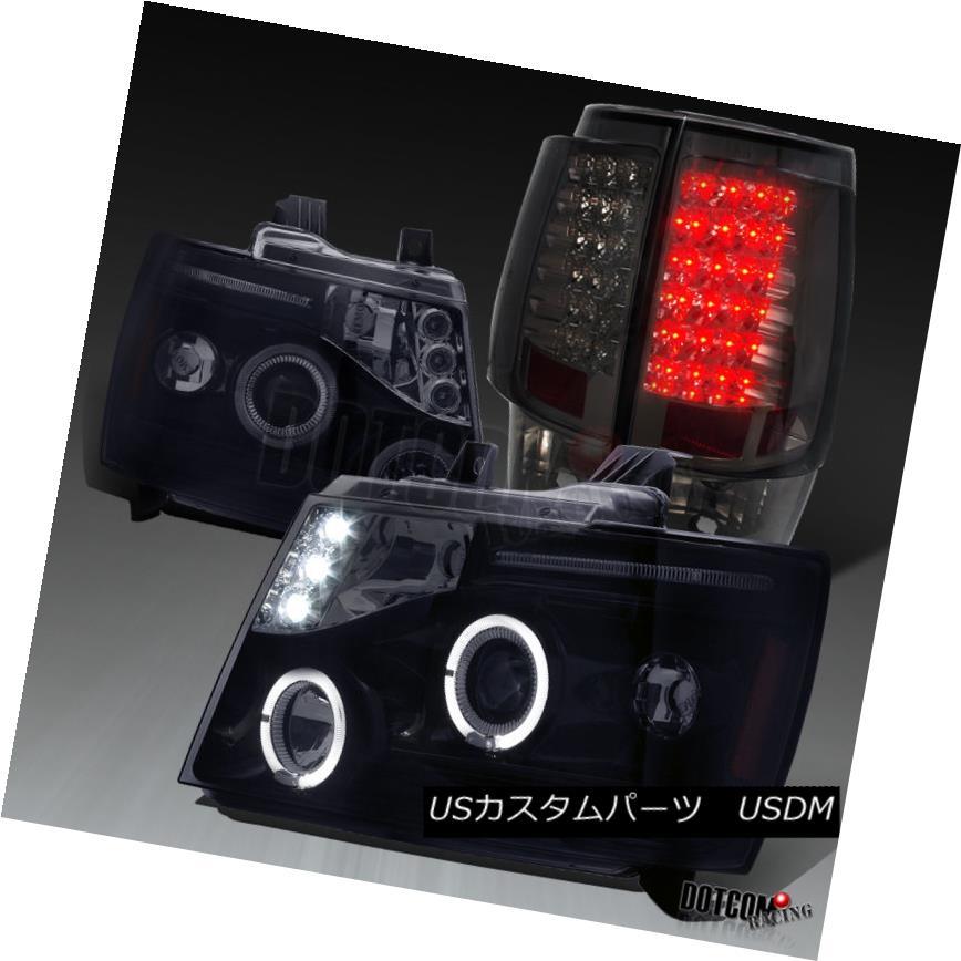 ヘッドライト 2007-2014 Tahoe Suburban Glossy Black Halo Projector Headlights+LED Tail Lamps 2007-2014タホ郊外光沢ブラックハロープロジェクターヘッドライト+ LEDテールランプ
