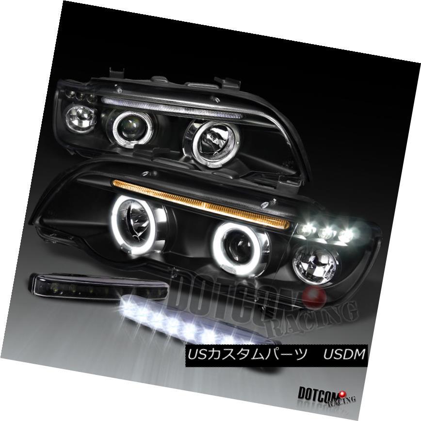 ヘッドライト 01-03 BMW E53 X5 Black Projector Halo Headlight+Front Bumper LED Fog DRL Lights 01-03 BMW E53 X5黒プロジェクターハローヘッドライト+ Fron  tバンパーLEDフォグDRLライト