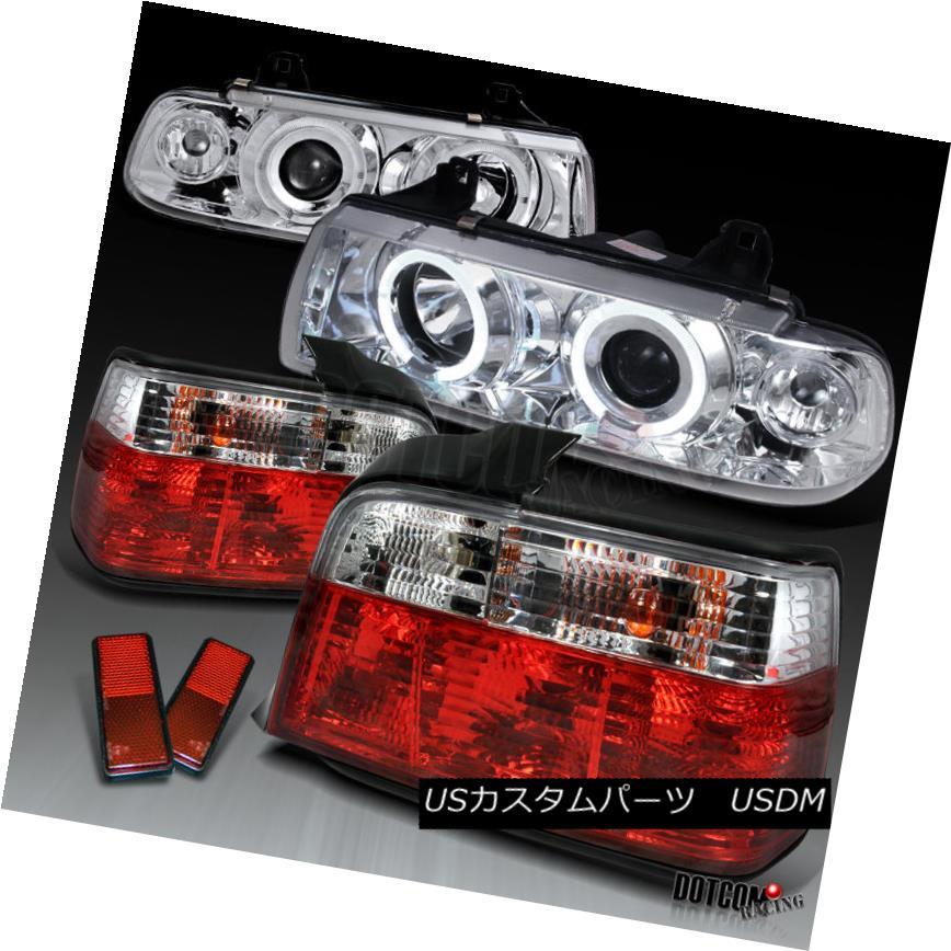 ヘッドライト 1992-1998 BMW E36 318i 325i 4Dr Halo Projector Headlight+Red/ Clear Tail Lights 1992-1998 BMW E36 318i 325i 4Drハロープロジェクターヘッドライト+レッド/クリアテールライト