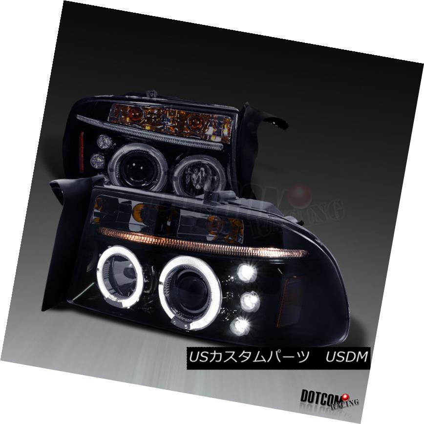 ヘッドライト Glossy Black 97-04 Dakota 98-03 Durango Smoke LED Halo Projector Headlights Pair Glossy Black 97-04 Dakota 98-03 Durango Smoke LEDハロープロジェクターヘッドライトペア
