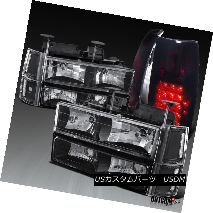 ヘッドライト 1994-1998 GMC C10 Black Headlights Bumper Corner Lights+LED Red Smoke Tail Lamps 1994-1998 GMC C10ブラックヘッドライトバンパーコーナーライト+ LEDレッド煙テールランプ