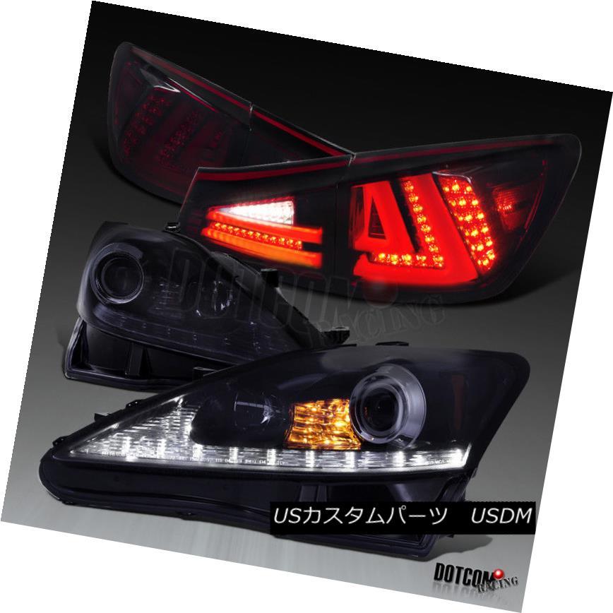 ヘッドライト 2006-2008 IS250 Glossy Black LED DRL+Signal Projector Headlights+ Tail Lamps 2006-2008 IS250光沢ブラックLED DRL +信号プロジェクターヘッドライト+テールランプ
