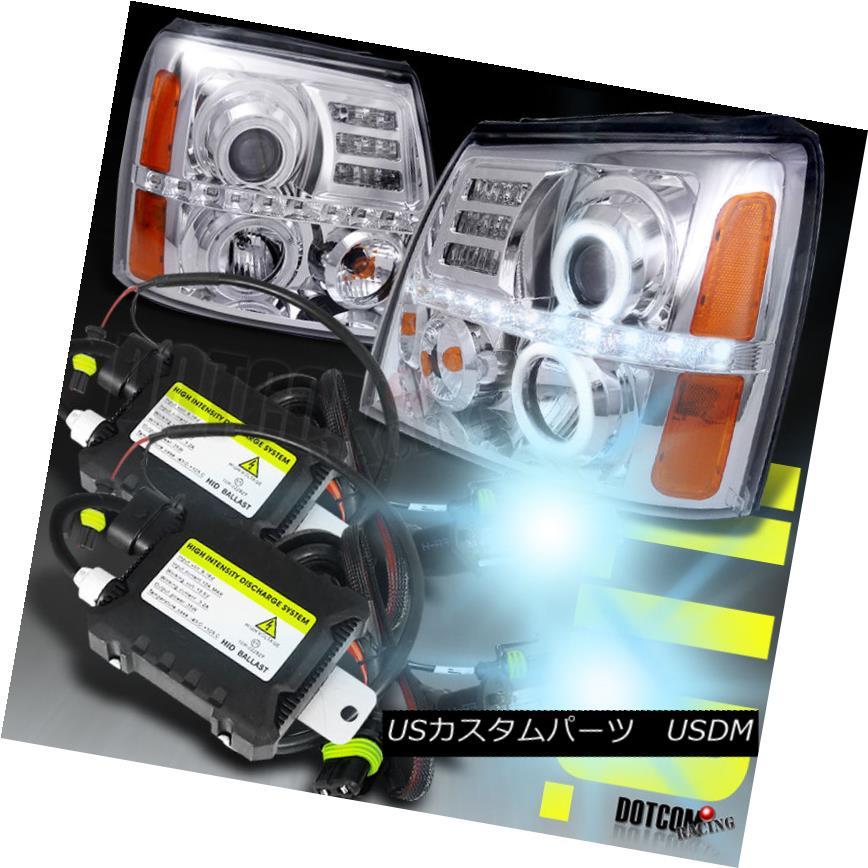 <title>車用品 バイク用品 >> パーツ ライト ランプ 正規品スーパーSALE×店内全品キャンペーン ヘッドライト 02-06 Escalade Halo LED Projector Headlight+H1 Slim HID Conversion Kit 6000K LEDプロジェクターヘッドライト+ H1スリムHID変換キット6000K</title>