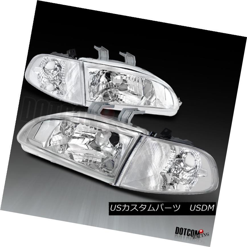 ヘッドライト Fit 1992-1995 Honda Civic 2/3Dr JDM Clear Headlights Corner Signal Lamps Pair 適合1992-1995 Honda Civic 2 / 3Dr JDMクリアヘッドライトコーナー信号ランプペア