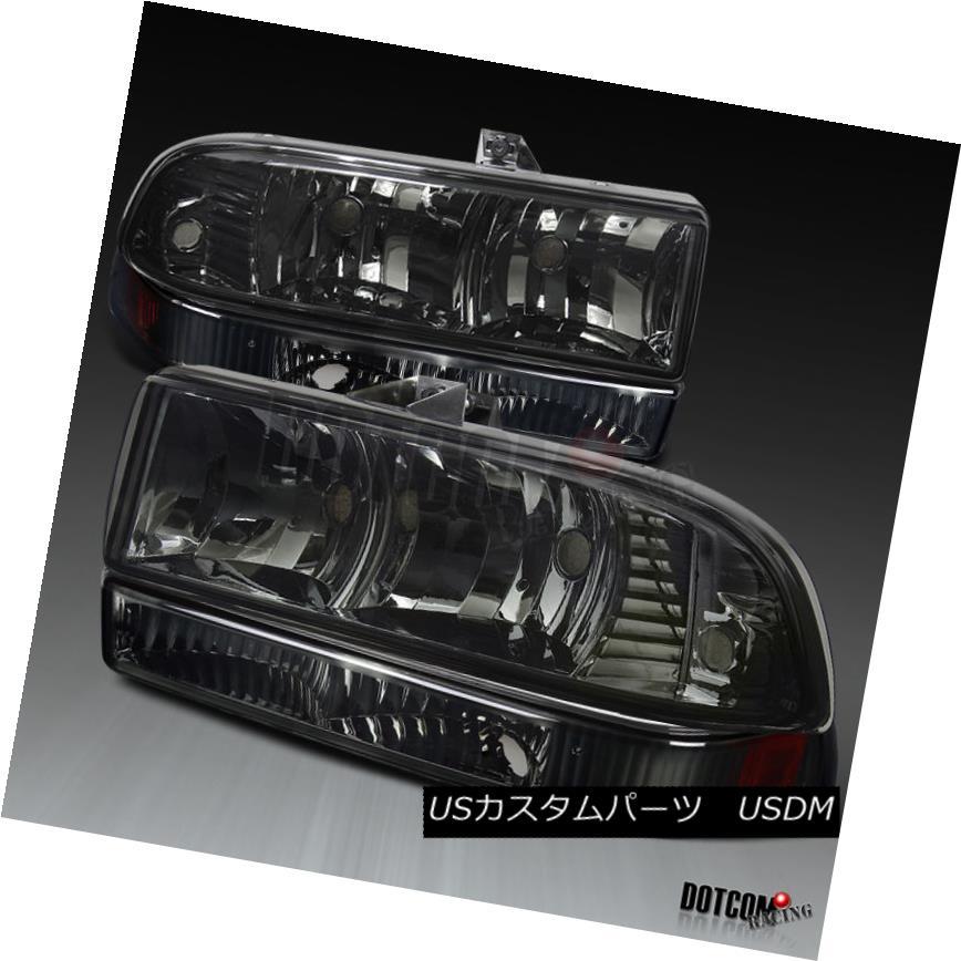 ヘッドライト 98-04 Chevy S10 Blazer Pickup Smoke Headlights+Tint Amber Reflector Bumper Lamps 98-04 Chevy S10 Blazerピックアップスモークヘッドライト+スリン tアンバーリフレクターバンパーランプ