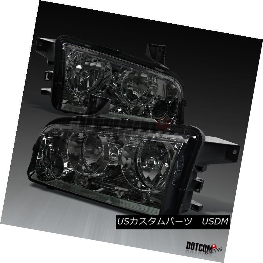 ヘッドライト 2006-2010 Dodge Charger Replacement Chrome Smoke Headlights Head Lamp Left+Right 2006-2010ダッジ充電器の交換クロームスモークヘッドライトヘッドランプ左+右