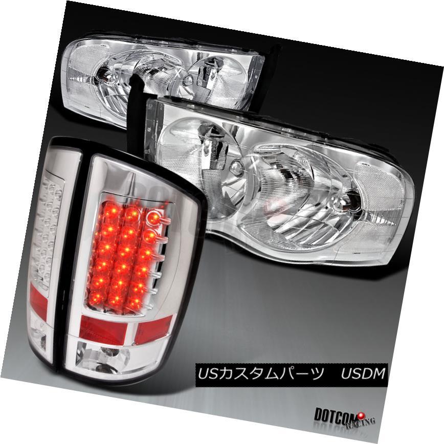 ヘッドライト 2002-2005 RAM 1500 2500 3500 Pickup Chrome Headlights+Clear LED Tail Brake Lamps 2002-2005 RAM 1500 2500 3500ピックアップクロームヘッドライト+ Cle  ar LEDテールブレーキランプ