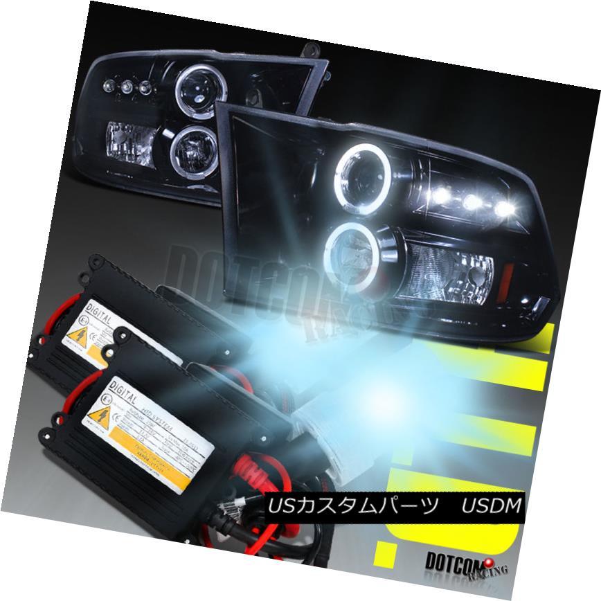 ヘッドライト Glossy Black 2009-2017 Dodge RAM Halo Projector Headlights+H1 6000K HID Kit Glossy Black 2009-2017 Dodge RAM Haloプロジェクターヘッドライト+ H1 6000K HIDキット