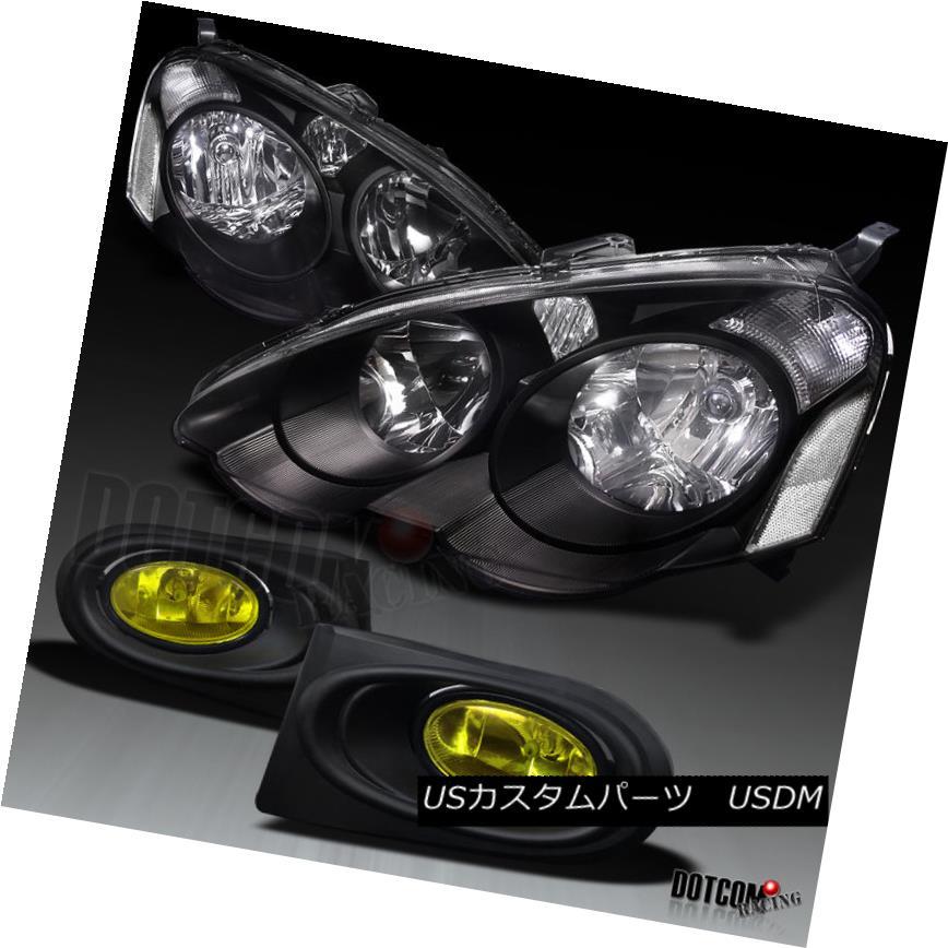 ヘッドライト 02-04 Acura RSX DC5 OEM Headlights Black+Bumper Fog Lamps Yellow 02-04アキュラRSX DC5 OEMヘッドライトブラック+バンパーフォグランプイエロー