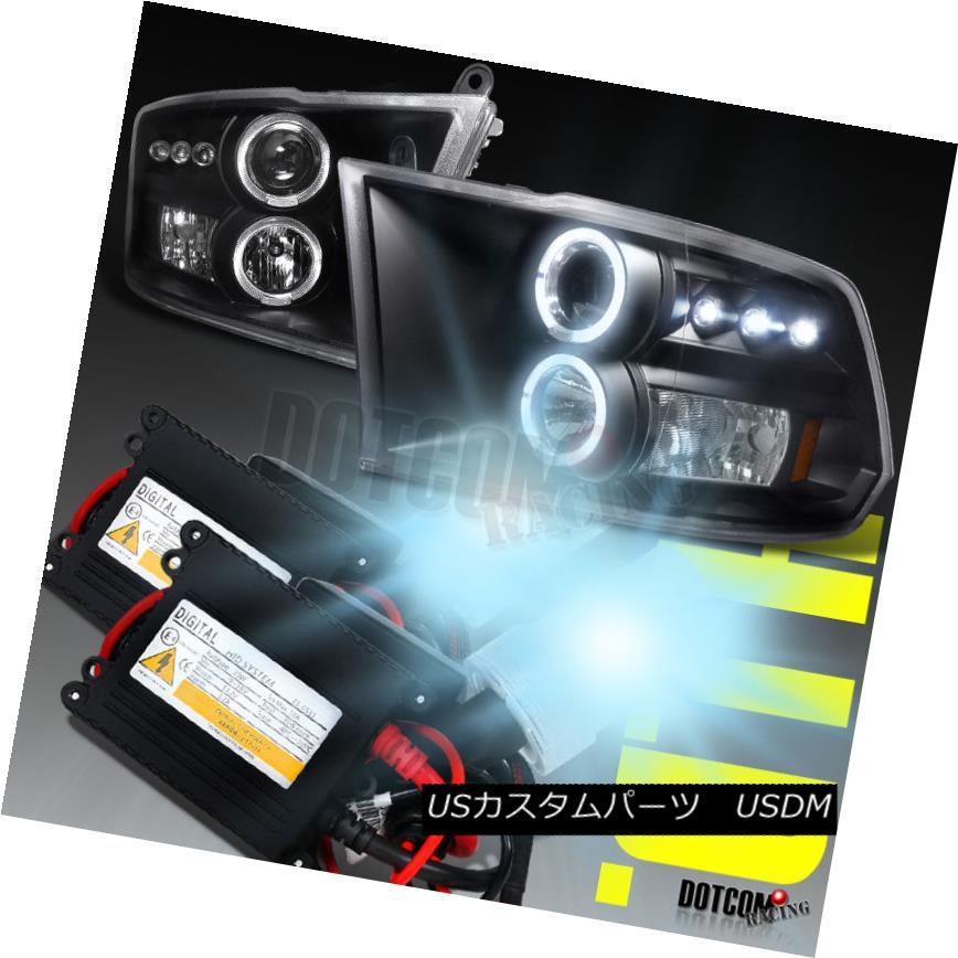 ヘッドライト 2009-2017 Dodge RAM Halo Black Projector Headlights+H1 6000K HID Kit 2009-2017ドッジRAMハローブラックプロジェクターヘッドライト+ H1 6000K HIDキット