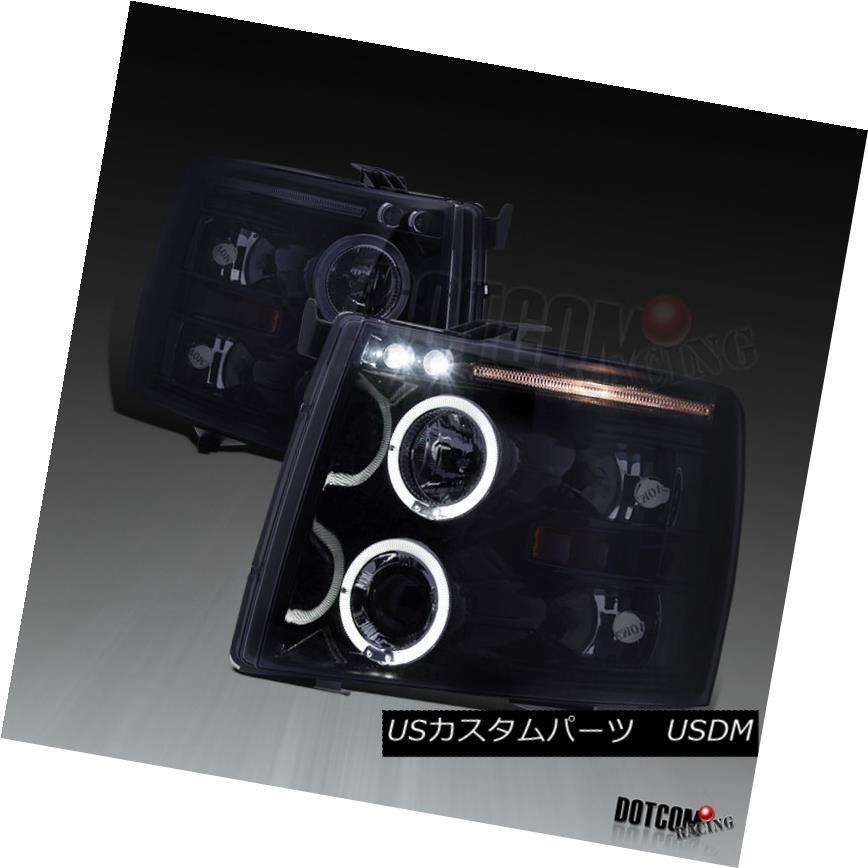 ヘッドライト Glossy Black 2007-2014 Chevy Silverado LED Lamps Halo Projector Headlights Pair Glossy Black 2007-2014 Chevy Silverado LEDランプHaloプロジェクターヘッドライトペア
