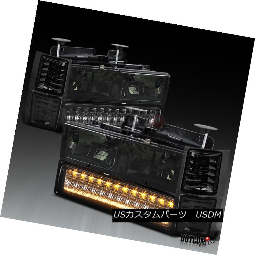 ヘッドライト 94-98 Chevy C10 Silverado 95-99 Tahoe Smoke Headlights+LED Bumper+Corner Lamps 94-98シボレーC10シルバラード95-99タホスモークヘッドライト+ LEDバンパー+コーナーランプ
